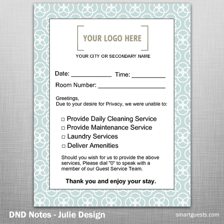 DND Notes - Housekeeping to Guest Notification