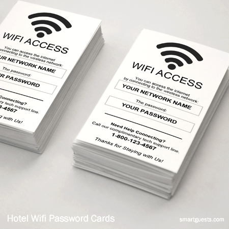 Hotel Wifi Password Cards