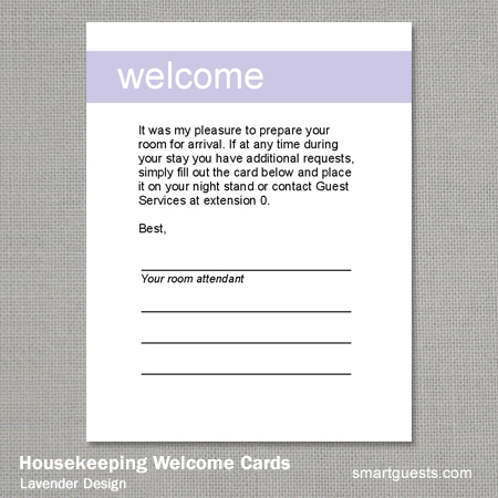 Housekeeping Welcome Cards