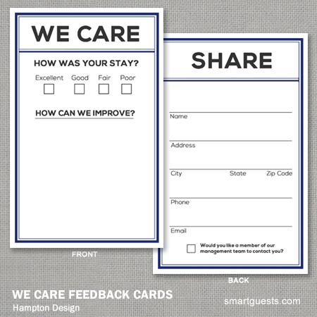 We Care Feedback Cards - Hampton Design
