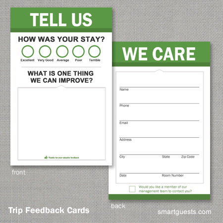 Trip Feedback Comment Cards