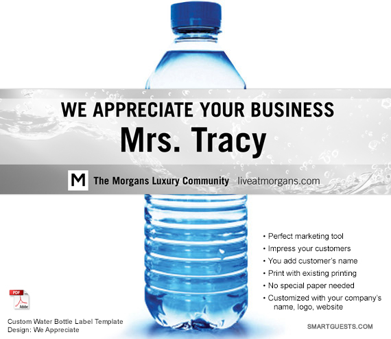 Custom Water Bottle Label Templates