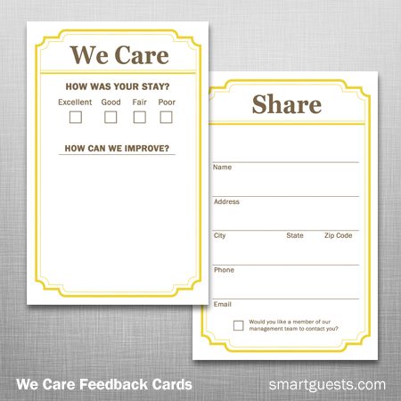 We Care Feedback Cards